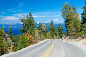 Road along Lake Tahoe